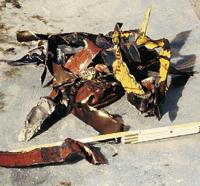 ポンプ搬送されたドラム缶の破砕片